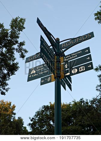 Directional Sign At Lake Harriet In Minneapolis