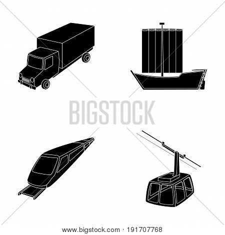 The truck, the boat, the subway, the funicular modes of transport. Transport set collection icons in black style vector symbol stock illustration .