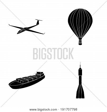 A drone, a glider, a balloon, a transportation barge, a space rocket transport modes. Transport set collection icons in black style vector symbol stock illustration .