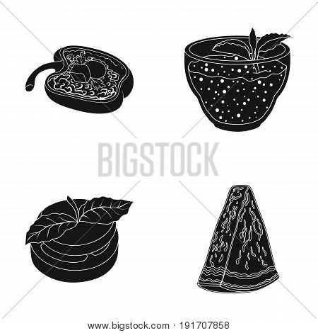 Sweet Bulgarian pepper, vitamin drink, jam with raspberry and mint leaves, a piece of watermelon. Vegetarian dishes set collection icons in black style vector symbol stock illustration .