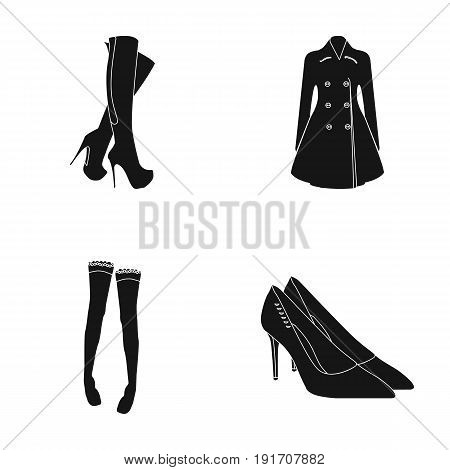 Women's high boots, coats on buttons, stockings with a rubber band with a pattern, high-heeled shoes. Women's clothing set collection icons in black style vector symbol stock illustration .