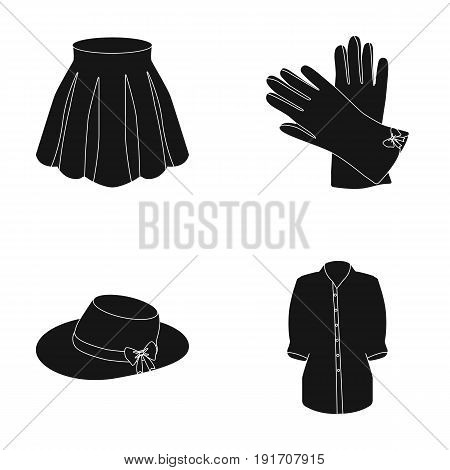 Skirt with folds, leather gloves, women's hat with a bow, shirt on the fastener. Women's clothing set collection icons in black style vector symbol stock illustration .