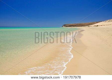 View on the beach Sotavento with golden sand and crystal sea water of amazing colors on Costa Calma on the Canary Island Fuerteventura Spain.