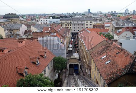 ZAGREB, CROATIA - MAY 26: Historic lower town architecture rooftops and funicular connecting the Ilica Street with Strossmayer Promenade, Zagreb Croatia on May 26, 2015