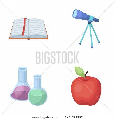 An open book with a bookmark, a telescope, flasks with reagents, a red apple. Schools and education set collection icons in cartoon style vector symbol stock illustration .
