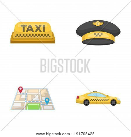 Yellow taxi inscription, a cap with a taxi badge, a map with a mark, a car with checkers. Taxi set collection icons in cartoon style vector symbol stock illustration .