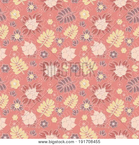 Vector pattern with romantic floral background. Subtle pastel tints and elegant linear ornament.