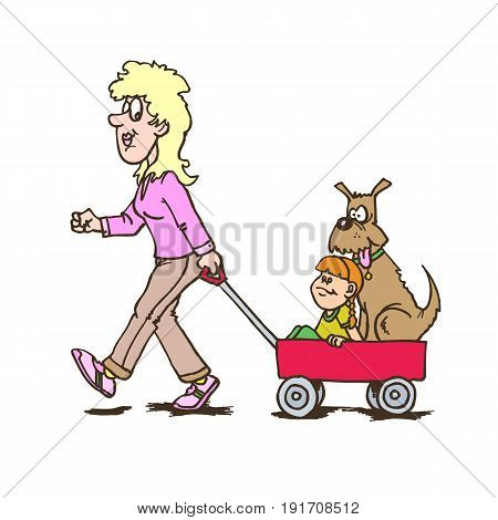 mother with children carriage walking with dog and child. Creative vector illustration. happy mothers day