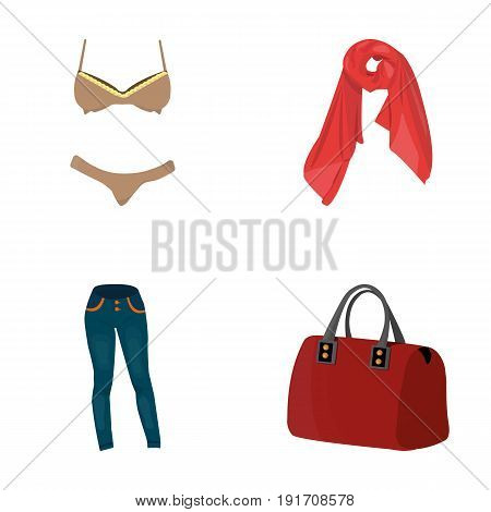 Bra with shorts, a women's scarf, leggings, a bag with handles. Women's clothing set collection icons in cartoon style vector symbol stock illustration .