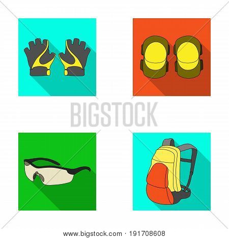 Gloves, elbow pads, goggles, cyclist backpack.Cyclist outfit set collection icons in flat style vector symbol stock illustration .