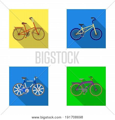 Children's bicycle and other kinds.Different bicycles set collection icons in flat style vector symbol stock illustration .