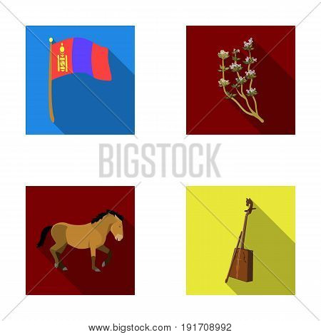 National flag, horse, musical instrument, steppe plant. Mongolia set collection icons in flat style vector symbol stock illustration .