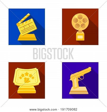 Gold pistol, silver prize for the best supporting role and other prizes.Movie awards set collection icons in flat style vector symbol stock illustration .