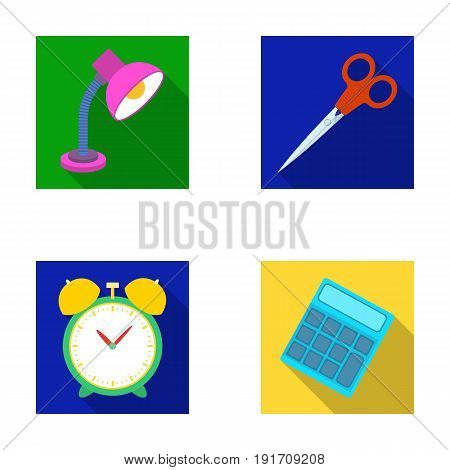 Table lamp, scissors, alarm clock, calculator. School and education set collection icons in flat style vector symbol stock illustration .