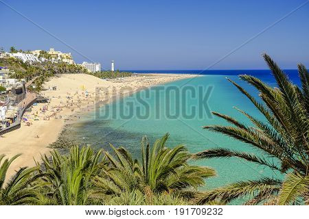 View on the beach Playa del Matorral in Morro Jable on the Canary Island Fuerteventura Spain.
