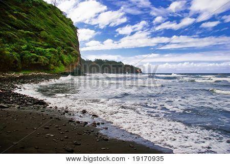 Black sand beach on the Big Island. Hawaii. USA poster