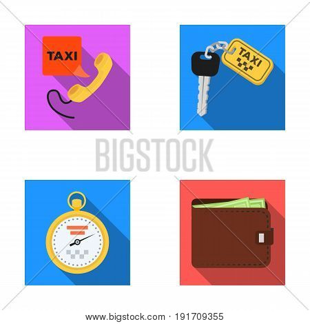 Handset with the inscription of a taxi, car keys with a key fob, a stopwatch with a fare, a purse with money, dollars. Taxi set collection icons in flat style vector symbol stock illustration .