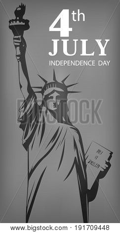 On the image presented Statue of Liberty a symbol of independence of America on a gray indistinct background.