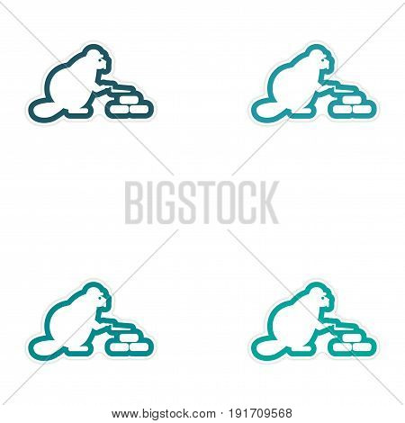 Set of paper stickers on white background beaver builder