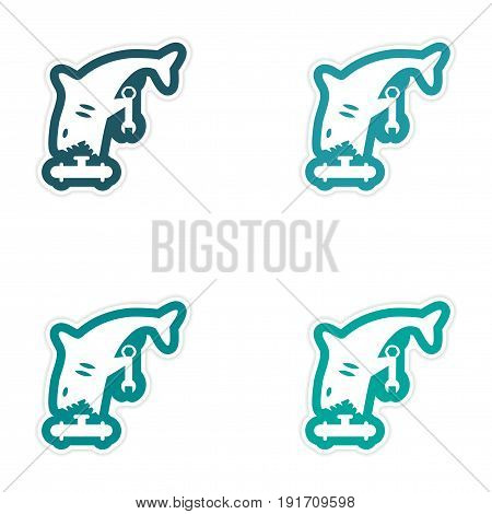Set of paper stickers on white background shark plumber