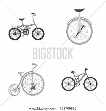 Retro, unicycle and other kinds.Different bicycles set collection icons in monochrome style vector symbol stock illustration .