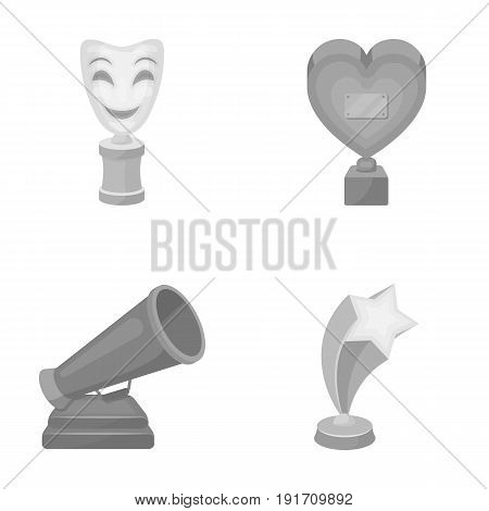 White Mask Mime for the best drama, a prize in the form of the heart and other prizes. Movie awards set collection icons in monochrome style vector symbol stock illustration .