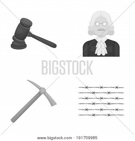 Judge, wooden hammer, barbed wire, pickaxe. Prison set collection icons in monochrome style vector symbol stock illustration .