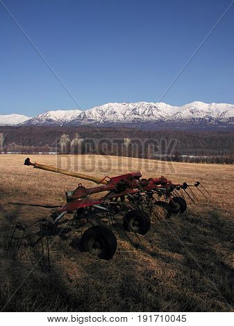 Tedder In A Hay Field In The Matanuska River Valley