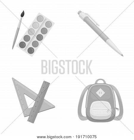 Multicolored paints with a tassel, pen, triangle and ruler, satchel, briefcase. School and education set collection icons in monochrome style vector symbol stock illustration .