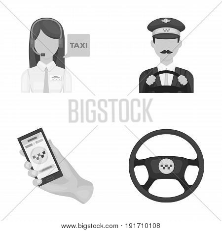 A taxi driver with a microphone, a taxi driver at the wheel, a cell phone with a number, a car steering wheel. Taxi set collection icons in monochrome style vector symbol stock illustration .