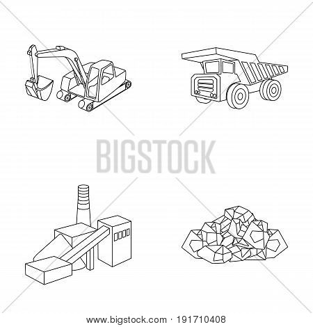 Excavator, dumper, processing plant, minerals and ore. Mining industry set collection icons in outline style vector symbol stock illustration.