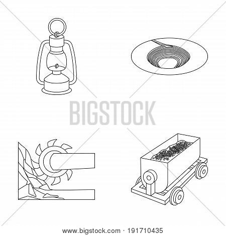 A miner's lamp, a funnel, a mining combine, a trolley with ore.cMining industry set collection icons in outline style vector symbol stock illustration.