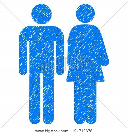 Grunge Married Couple icon with grunge design and dust texture. Unclean vector blue pictogram for rubber seal stamp imitations and watermarks. Draft sticker married couple symbol.