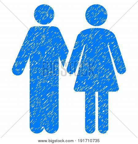 Grunge Married Couple icon with grunge design and scratched texture. Unclean vector blue pictogram for rubber seal stamp imitations and watermarks. Draft sign married couple symbol.