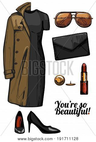 Vector illustration of women fashion clothes look set. Trench coat little black bodycon dress aviator sunglasses clutch bag red lipstick golden jewellery black patent pointed pumps shoes. Ink hand drawn style colored.
