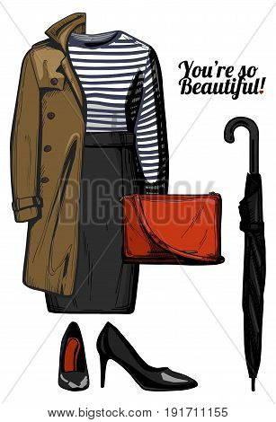 Vector illustration of women fashion clothes look set. Trench coatstripped top blouse pencil skirt red crossbody bag umbrella black patent leather pumps shoes. Ink hand drawn style colored.