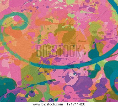 Pink background with marble effect Drawing with spirals and splashes of color