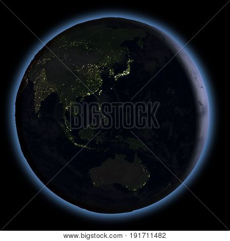 East Asia From Space At Night