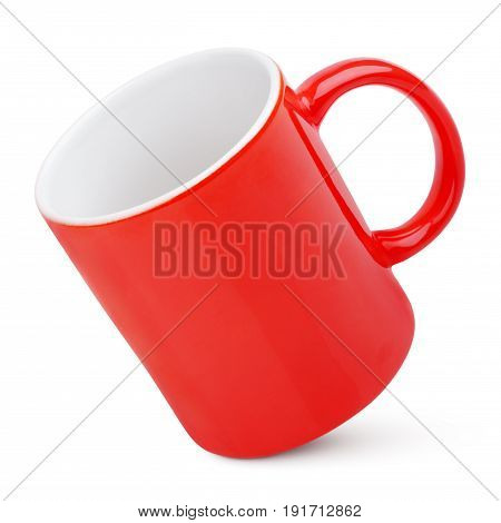 Red mug isolated on white background. Red cup with clipping path