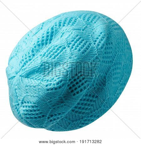 Women's Hat . Knitted Hat Isolated On White Background.tirquoise Hat