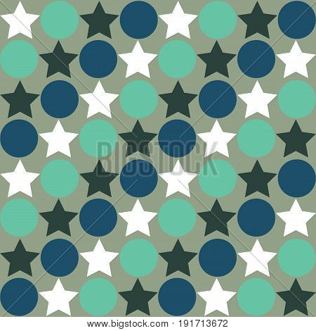 Retro Seamless Abstract Pattern - Star Alternating Circle In Muted Vintage Colors