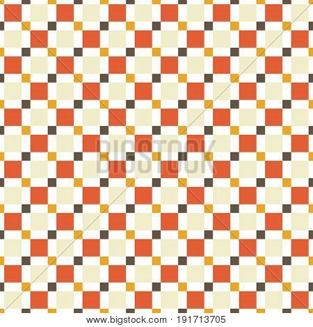 Seamless Pattern Made Of Colorful Squres - Tan, Orange, Red And Brown On White Background