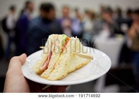 Hand holds plate with cheese, ham, salad sandwich fastened with wooden skewer.