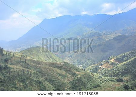 Beautiful mountain valley. Sa Pa is a town in the Hoang Lien Son Mountains of northwestern Vietnam.