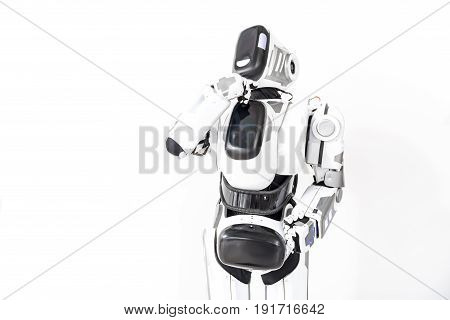 Robot is showing wistfulness. He standing straight and putting hand on chin. Isolated. Copy space on left side