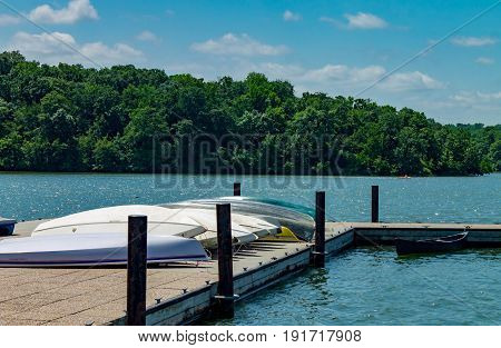 Boats lined up on the dock ready for use