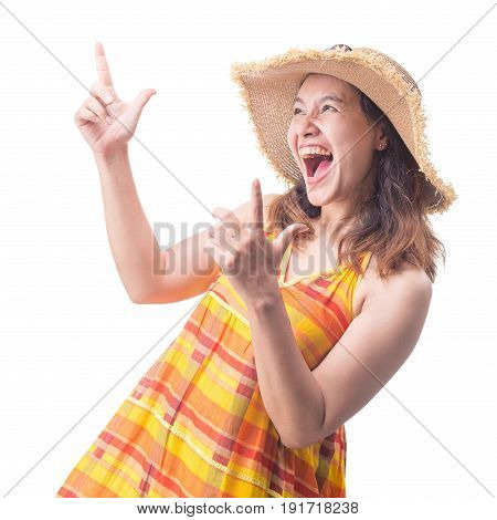 Portrait of beautiful young surprised emotionally woman surprising.