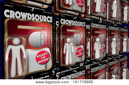 Crowdsource Action Figures Workers Virtual Workforce 3d Illustration