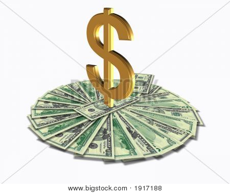 3 Dimensional Dollar Sign On Top Of A Money Circle
