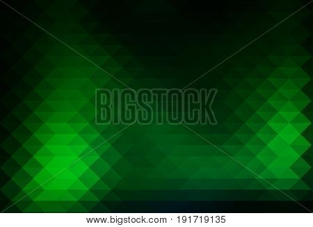 Glowing Neon Green Rows Of Triangles Background